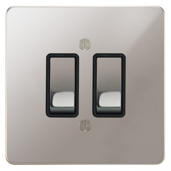 Focus SB Ambassador APS11.2B 2 gang 20 amp 2 way rocker switch in Polished Stainless with black inserts