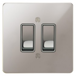 Focus SB Ambassador APS11.2W 2 gang 20 amp 2 way rocker switch in Polished Stainless with white inserts
