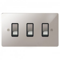Focus SB Ambassador APS11.3B 3 gang 20 amp 2 way rocker switch in Polished Stainless with black inserts