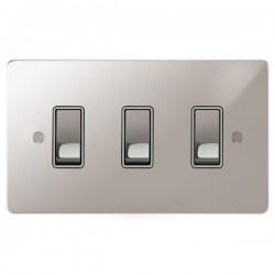 Focus SB Ambassador APS11.3W 3 gang 20 amp 2 way rocker switch in Polished Stainless with white inserts