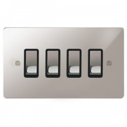 Focus SB Ambassador APS11.4B 4 gang 20 amp 2 way rocker switch in Polished Stainless with black inserts