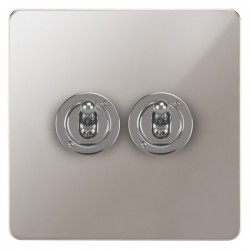 Focus SB Ambassador APS14.2 2 gang 20 amp 2 way toggle switch in Polished Stainless