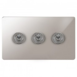 Focus SB Ambassador APS14.3 3 gang 20 amp 2 way toggle switch in Polished Stainless
