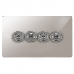 Focus SB Ambassador APS14.4 4 gang 20 amp 2 way toggle switch in Polished Stainless