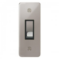 Focus SB Ambassador APS16.1B 1 gang 20 amp 2 way architrave switch in Polished Stainless with black inserts