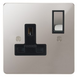 Focus SB Ambassador APS18.1B 1 gang 13 amp switched socket in Polished Stainless with black inserts