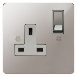 Focus SB Ambassador APS18.1W 1 gang 13 amp switched socket in Polished Stainless with white inserts