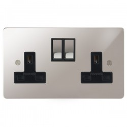Focus SB Ambassador APS18.2B 2 gang 13 amp switched socket in Polished Stainless with black inserts