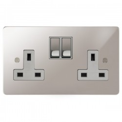 Focus SB Ambassador APS18.2W 2 gang 13 amp switched socket in Polished Stainless with white inserts