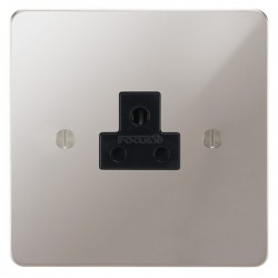 Focus SB Ambassador APS19.1B 1 gang 2 amp unswitched socket in Polished Stainless with black inserts