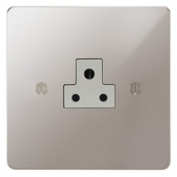Focus SB Ambassador APS19.1W 1 gang 2 amp unswitched socket in Polished Stainless with white inserts