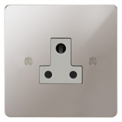 Focus SB Ambassador APS20.1W 1 gang 5 amp unswitched socket in Polished Stainless with white inserts