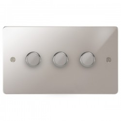 Focus SB Ambassador APS21.3 3 gang 2 way 250W (mains and low voltage) dimmer in Polished Stainless