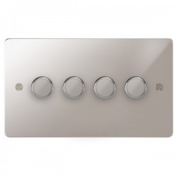Focus SB Ambassador APS21.4 4 gang 2 way 250W (mains and low voltage) dimmer in Polished Stainless