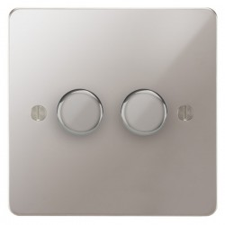 Focus SB Ambassador APS22.2 2 gang 2 way 400W (mains and low voltage) dimmer in Polished Stainless
