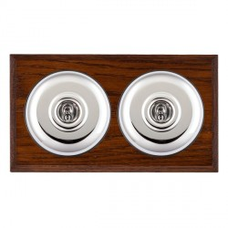 Hamilton Bloomsbury Chamfered Antique Mahogany Plain Bright Chrome 2 Gang 2 Way Toggle with Black Insert