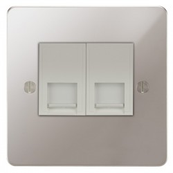 Focus SB Ambassador APS24.2W 2 gang master telephone socket in Polished Stainless with white inserts