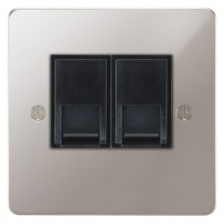 Focus SB Ambassador APS25.2B 2 gang slave telephone socket in Polished Stainless with black inserts