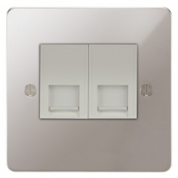 Focus SB Ambassador APS25.2W 2 gang slave telephone socket in Polished Stainless with white inserts