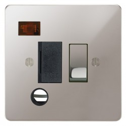 Focus SB Ambassador APS29.1B 13 amp switched fuse spur with cord outlet and neon in Polished Stainless wi...