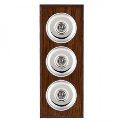 Hamilton Bloomsbury Chamfered Antique Mahogany Plain Bright Chrome 3 Gang 2 Way Toggle with Black Insert
