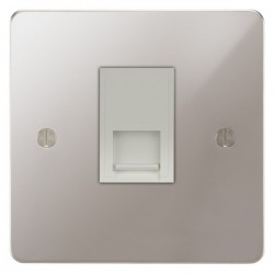 Focus SB Ambassador APS51.1W 1 gang CAT5 RJ45 socket in Polished Stainless with white inserts