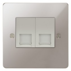 Focus SB Ambassador APS51.2W 2 gang CAT5 RJ45 socket in Polished Stainless with white inserts