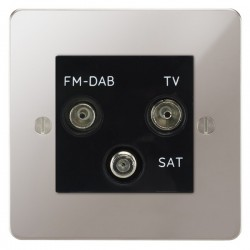 Focus SB Ambassador APS80.3B triplex TV/FM/Satellite outlet in Polished Stainless with black inserts
