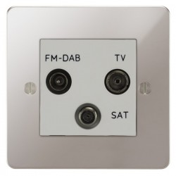 Focus SB Ambassador APS80.3W triplex TV/FM/Satellite outlet in Polished Stainless with white inserts