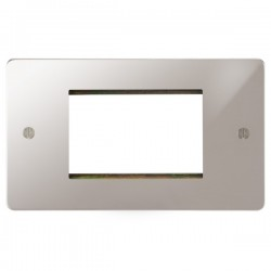Focus SB Ambassador APSEUR.3 double aperture plate for three single euro modules in Polished Stainless