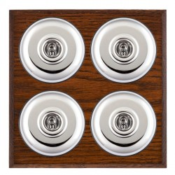 Hamilton Bloomsbury Chamfered Antique Mahogany Plain Bright Chrome 4 Gang 2 Way Toggle with Black Insert