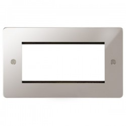 Focus SB Ambassador APSEUR.4 double aperture plate for four single euro modules in Polished Stainless