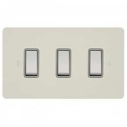 Focus SB Ambassador APW10.3W 3 gang 20 amp 2 way rocker switch in Primed White with white inserts