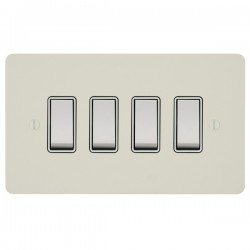 Focus SB Ambassador APW10.4W 4 gang 20 amp 2 way rocker switch in Primed White with white inserts