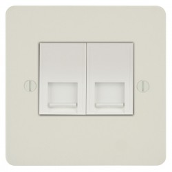 Focus SB Ambassador APW24.2W 2 gang master telephone socket in Primed White with white inserts