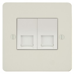 Focus SB Ambassador APW25.2W 2 gang slave telephone socket in Primed White with white inserts