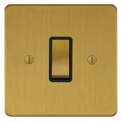 Focus SB Ambassador ASB11.1B 1 gang 20 amp 2 way rocker switch in Satin Brass with black inserts