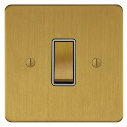 Focus SB Ambassador ASB11.1W 1 gang 20 amp 2 way rocker switch in Satin Brass with white inserts