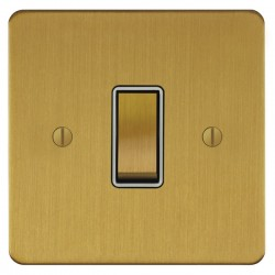 Focus SB Ambassador ASB11.1/3W 1 gang 20 amp Intermediate rocker switch in Satin Brass with White Inserts