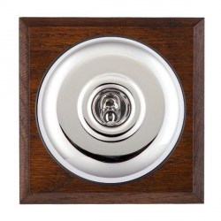 Hamilton Bloomsbury Chamfered Antique Mahogany Plain Bright Chrome 1 Gang Double Pole Toggle with Black Insert