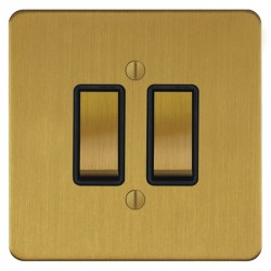 Focus SB Ambassador ASB11.2B 2 gang 20 amp 2 way rocker switch in Satin Brass with black inserts