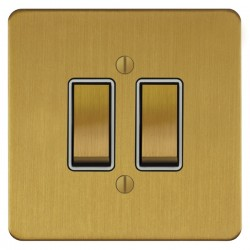 Focus SB Ambassador ASB11.2W 2 gang 20 amp 2 way rocker switch in Satin Brass with white inserts