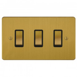 Focus SB Ambassador ASB11.3B 3 gang 20 amp 2 way rocker switch in Satin Brass with black inserts