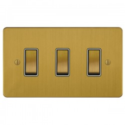 Focus SB Ambassador ASB11.3W 3 gang 20 amp 2 way rocker switch in Satin Brass with white inserts