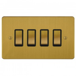 Focus SB Ambassador ASB11.4B 4 gang 20 amp 2 way rocker switch in Satin Brass with black inserts