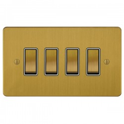 Focus SB Ambassador ASB11.4W 4 gang 20 amp 2 way rocker switch in Satin Brass with white inserts