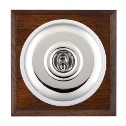 Hamilton Bloomsbury Chamfered Antique Mahogany Plain Bright Chrome 1 Gang Double Pole Toggle with White Insert