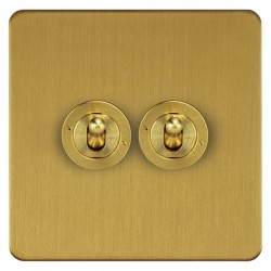 Focus SB Ambassador ASB14.2 2 gang 20 amp 2 way toggle switch in Satin Brass
