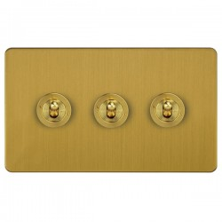 Focus SB Ambassador ASB14.3 3 gang 20 amp 2 way toggle switch in Satin Brass
