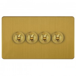 Focus SB Ambassador ASB14.4 4 gang 20 amp 2 way toggle switch in Satin Brass